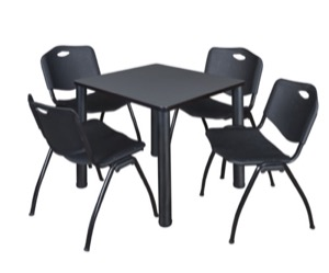 "Kee 30"" Square Breakroom Table - Grey/ Black & 4 'M' Stack Chairs - Black"