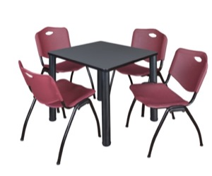 "Kee 30"" Square Breakroom Table - Grey/ Black & 4 'M' Stack Chairs - Burgundy"