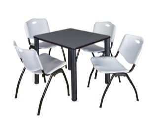 "Kee 30"" Square Breakroom Table - Grey/ Black & 4 'M' Stack Chairs - Grey"