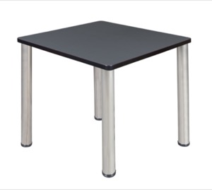 "Kee 30"" Square Breakroom Table - Grey/ Chrome"