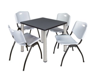 "Kee 30"" Square Breakroom Table - Grey/ Chrome & 4 'M' Stack Chairs - Grey"