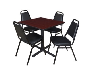 "Cain 30"" Square Breakroom Table - Mahogany & 4 Restaurant Stack Chairs - Black"