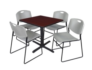 "Cain 30"" Square Breakroom Table - Mahogany & 4 Zeng Stack Chairs - Grey"