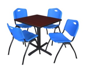 "Cain 30"" Square Breakroom Table - Mahogany & 4 'M' Stack Chairs - Blue"
