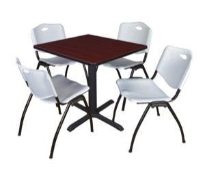 "Cain 30"" Square Breakroom Table - Mahogany & 4 'M' Stack Chairs - Grey"