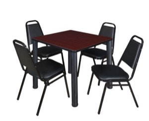 "Kee 30"" Square Breakroom Table - Mahogany/ Black & 4 Restaurant Stack Chairs - Black"