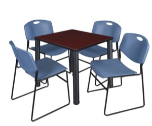 "Kee 30"" Square Breakroom Table - Mahogany/ Black & 4 Zeng Stack Chairs - Blue"