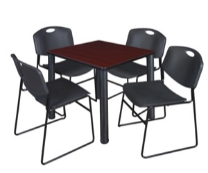 "Kee 30"" Square Breakroom Table - Mahogany/ Black & 4 Zeng Stack Chairs - Black"