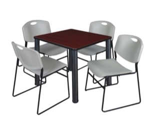 "Kee 30"" Square Breakroom Table - Mahogany/ Black & 4 Zeng Stack Chairs - Grey"