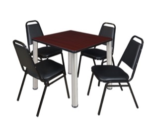 "Kee 30"" Square Breakroom Table - Mahogany/ Chrome & 4 Restaurant Stack Chairs - Black"