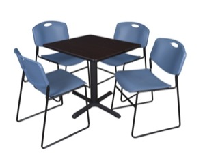 "Cain 30"" Square Breakroom Table - Mocha Walnut & 4 Zeng Stack Chairs - Blue"