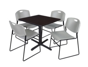 "Cain 30"" Square Breakroom Table - Mocha Walnut & 4 Zeng Stack Chairs - Grey"