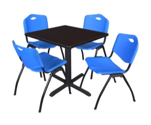 "Cain 30"" Square Breakroom Table - Mocha Walnut & 4 'M' Stack Chairs - Blue"