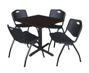 "Cain 30"" Square Breakroom Table - Mocha Walnut & 4 'M' Stack Chairs - Black"