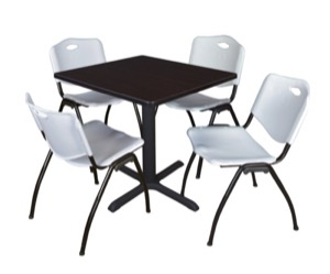 "Cain 30"" Square Breakroom Table - Mocha Walnut & 4 'M' Stack Chairs - Grey"