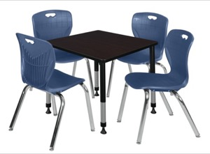 "Kee 30"" Square Height Adjustable Classroom Table  - Mocha Walnut & 4 Andy 18-in Stack Chairs - Navy Blue"
