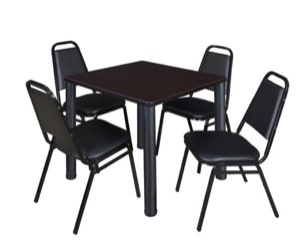 "Kee 30"" Square Breakroom Table - Mocha Walnut/ Black & 4 Restaurant Stack Chairs - Black"
