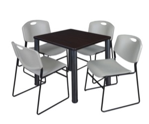 "Kee 30"" Square Breakroom Table - Mocha Walnut/ Black & 4 Zeng Stack Chairs - Grey"