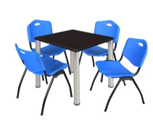 "Kee 30"" Square Breakroom Table - Mocha Walnut/ Chrome & 4 'M' Stack Chairs - Blue"