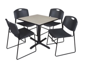 "Cain 30"" Square Breakroom Table - Maple & 4 Zeng Stack Chairs - Black"