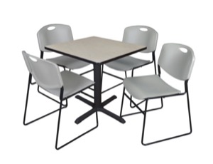 "Cain 30"" Square Breakroom Table - Maple & 4 Zeng Stack Chairs - Grey"