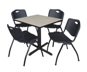 "Cain 30"" Square Breakroom Table - Maple & 4 'M' Stack Chairs - Black"