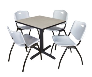 "Cain 30"" Square Breakroom Table - Maple & 4 'M' Stack Chairs - Grey"