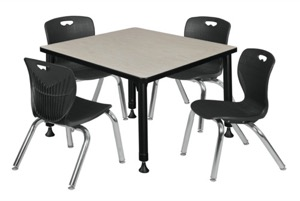 "Kee 30"" Square Height Adjustable Classroom Table  - Maple & 4 Andy 12-in Stack Chairs - Black"