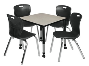 "Kee 30"" Square Height Adjustable Mobile Classroom Table  - Maple & 4 4 Andy 18-in Stack Chairs - Black"