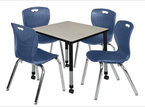 "Kee 30"" Square Height Adjustable Mobile Classroom Table  - Maple & 4 4 Andy 18-in Stack Chairs - Navy Blue"