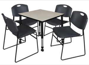 "Kee 30"" Square Height Adjustable Mobile Classroom Table  - Maple & 4 Zeng Stack Chairs - Black"