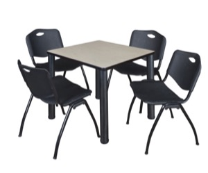 "Kee 30"" Square Breakroom Table - Maple/ Black & 4 'M' Stack Chairs - Black"