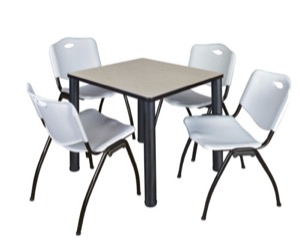 "Kee 30"" Square Breakroom Table - Maple/ Black & 4 'M' Stack Chairs - Grey"