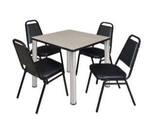 "Kee 30"" Square Breakroom Table - Maple/ Chrome & 4 Restaurant Stack Chairs - Black"