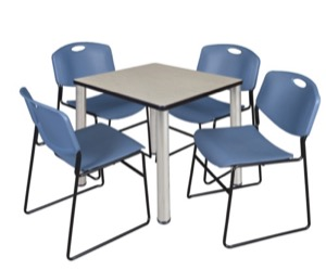 "Kee 30"" Square Breakroom Table - Maple/ Chrome & 4 Zeng Stack Chairs - Blue"