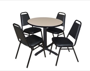 "Cain 30"" Round Breakroom Table - Beige & 4 Restaurant Stack Chairs - Black"