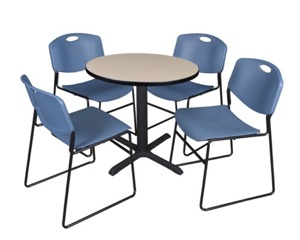 "Cain 30"" Round Breakroom Table - Beige & 4 Zeng Stack Chairs - Blue"