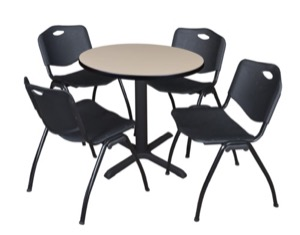 "Cain 30"" Round Breakroom Table - Beige & 4 'M' Stack Chairs - Black"