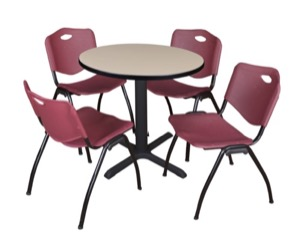"Cain 30"" Round Breakroom Table - Beige & 4 'M' Stack Chairs - Burgundy"
