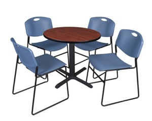 "Cain 30"" Round Breakroom Table - Cherry & 4 Zeng Stack Chairs - Blue"