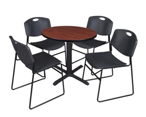 "Cain 30"" Round Breakroom Table - Cherry & 4 Zeng Stack Chairs - Black"
