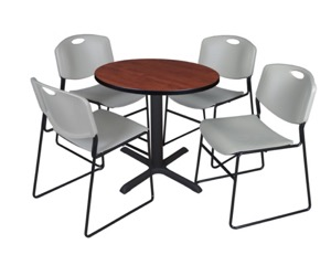 "Cain 30"" Round Breakroom Table - Cherry & 4 Zeng Stack Chairs - Grey"