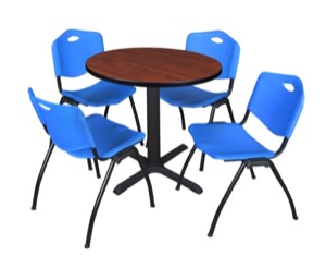 "Cain 30"" Round Breakroom Table - Cherry & 4 'M' Stack Chairs - Blue"