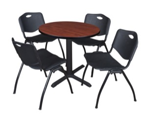 "Cain 30"" Round Breakroom Table - Cherry & 4 'M' Stack Chairs - Black"