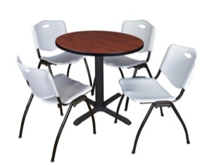 "Cain 30"" Round Breakroom Table - Cherry & 4 'M' Stack Chairs - Grey"