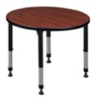 "Kee 30"" Round Height Adjustable Classroom Table  - Cherry"