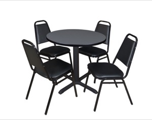 "Cain 30"" Round Breakroom Table - Grey & 4 Restaurant Stack Chairs - Black"