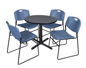 "Cain 30"" Round Breakroom Table - Grey & 4 Zeng Stack Chairs - Blue"