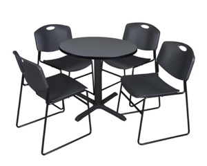 "Cain 30"" Round Breakroom Table - Grey & 4 Zeng Stack Chairs - Black"