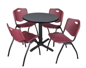 "Cain 30"" Round Breakroom Table - Grey & 4 'M' Stack Chairs - Burgundy"